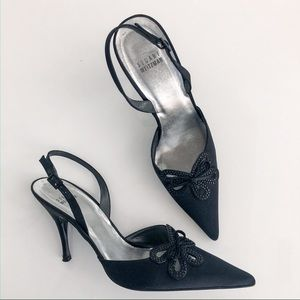 Stuart Weitzman Black Satin Sling Back Shoes 9